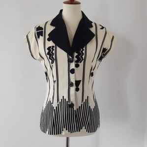 90s Vintage Cream and White Blouse